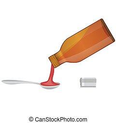 medico, versare, sciroppo, cucchiaio, bottiglia