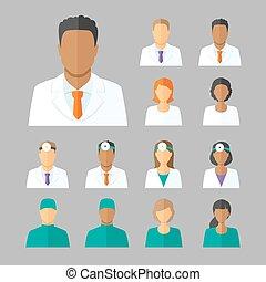 medico, vettore, avatars, foro, dottori
