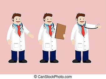medico, vettore, carattere, cartone animato, dottore