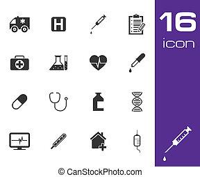 medico, vettore, nero, set, icona