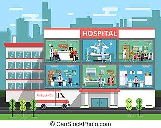 medico, vettore, stanze, personnels, costruzione, ospedale, illustrazioni, dottori, clinica, patients.