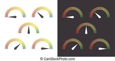 medida, elemento, infographic, medidor, sinais