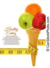 medida, hielo, cinta, cono, fruits, fresco, crema