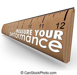 medida, seu, desempenho, palavras, régua, avaliação, revisão