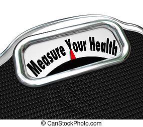 medida, su, salud, escala, pérdida de peso, sano, chequeo