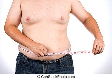 medidas, cintura, hombre