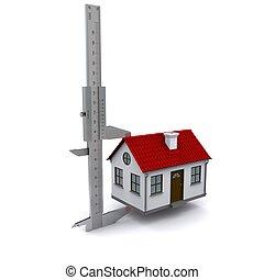 medidas, house., calibrador, altura, fazendo, 3d