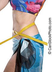 medidas, mulher, cintura, esbelto