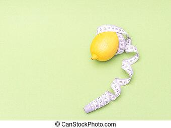 medidor, concept., cópia, saudável, medindo, limão, dieta, livre, experiência., verde, space.