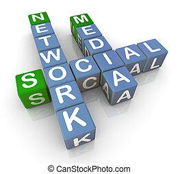medien, 3d, vernetzung, sozial