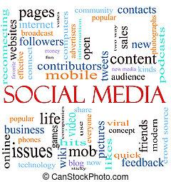 medien, begriff, wort, abbildung, sozial