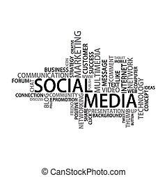 medien, etikett, wolke, sozial