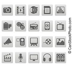 medien, heiligenbilder, auf, graue , quadrate