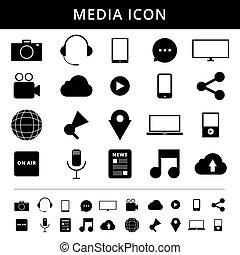 medien, icons., simplus, series., jedes, ikone, gleichfalls, a, einzelner gegenstand