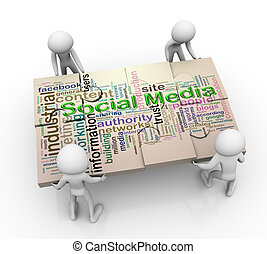 medien, puzzel, maenner, sozial, 3d, peaces