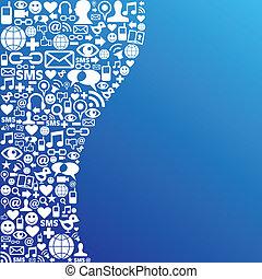 medien, sozial, vernetzung, hintergrund, ikone