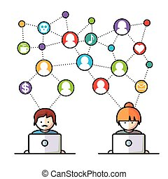 medien, sozial, vernetzung, leute