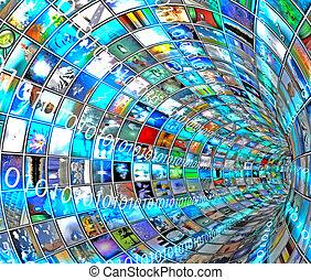 medien, tunnel, mit, binärer