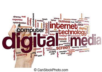 medien, wort, wolke, digital