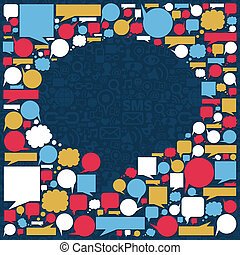 medier, boble, samtalen, tekstur, sociale