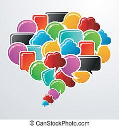 medier, bobler, tale, kommunikation, sociale