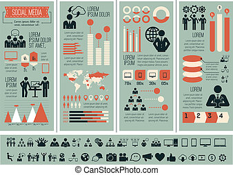 medier, infographic, template., sociale