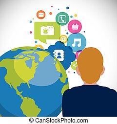 medier, kommunikation, tale, sociale, verden, boble, mand