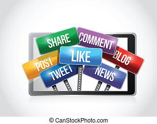 medier, sociale, illustration, tablet, tegn