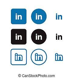 medier, sociale, linkedin, iconerne