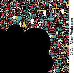 medier, sociale, netværk, baggrund, iconerne