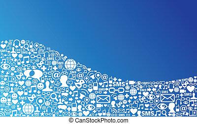 medier, sociale, netværk, baggrund, ikon