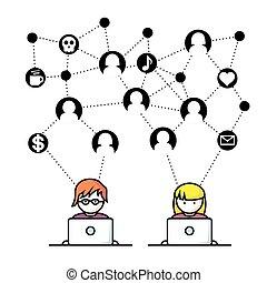 medier, sociale, netværk, folk