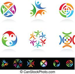 medier, sociale, netværk, samling, iconerne