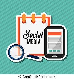 medier, vektor, sociale, konstruktion, illustration