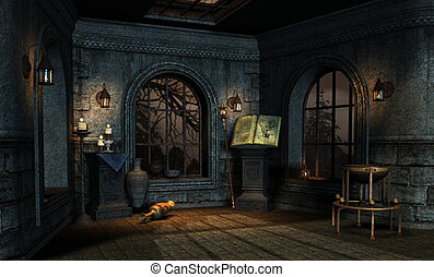 medieval 2 - room in a medieval fantasy style
