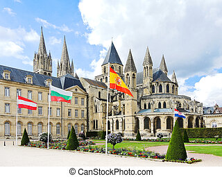 medieval Abbey of Saint-Etienne in Caen, France - medieval...