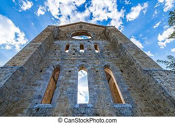 Medieval Abbey of San Galgano from 13th century, near Siena,...