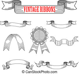 Medieval abstract ribbons set for heraldry design