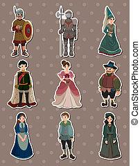 medieval, adesivos, caricatura, pessoas