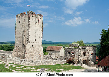 Medieval aged stone Kinizsi castle and tower in Nagyvazsony...