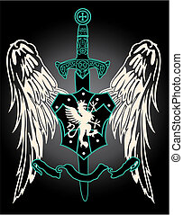 medieval, ala, con, espada, emblema