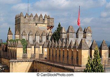medieval,  almodovar,  Rio,  del, torre, castelo, Espanha