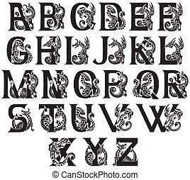 medieval alphabet - gargoyls and chimeras