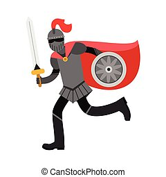 Medieval amed knight character in red cape, colorful vector Illustration