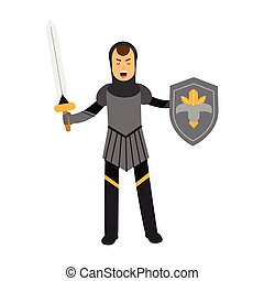 Medieval amed knight character standing with shield and sword, colorful vector Illustration