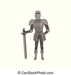 Medieval amed knight character standing with sword vector Illustration on a white background