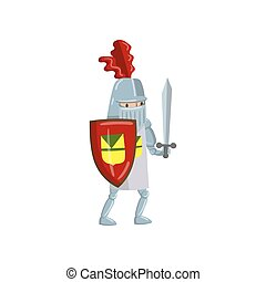 Medieval amed knight character with shield and sword, fairytale or medieval character cartoon vector Illustration
