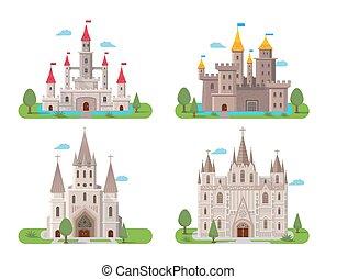 Medieval ancient castles set