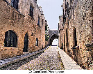 Medieval arched street - Medieval Street of the Knights, Old...
