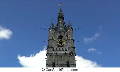 Medieval architectural details: Het Belfort van Gent, Ghent Belfry, Belgium.